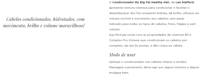 Condicionador My Big Fat Healthy Hair da Lee Stafford pra que serve
