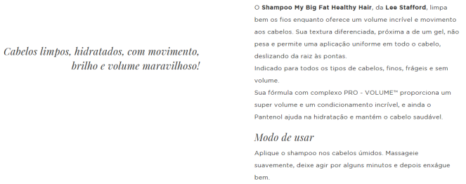Shampoo My Big Fat Healthy Hair da Lee Stafford pra que serve